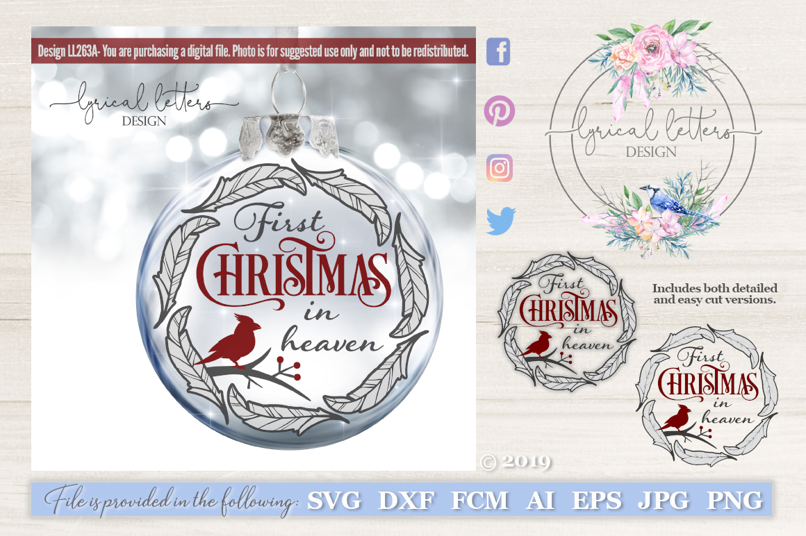 Christmas In Heaven Svg.First Christmas In Heaven Cardinal Svg Dxf Fcm Ll263a