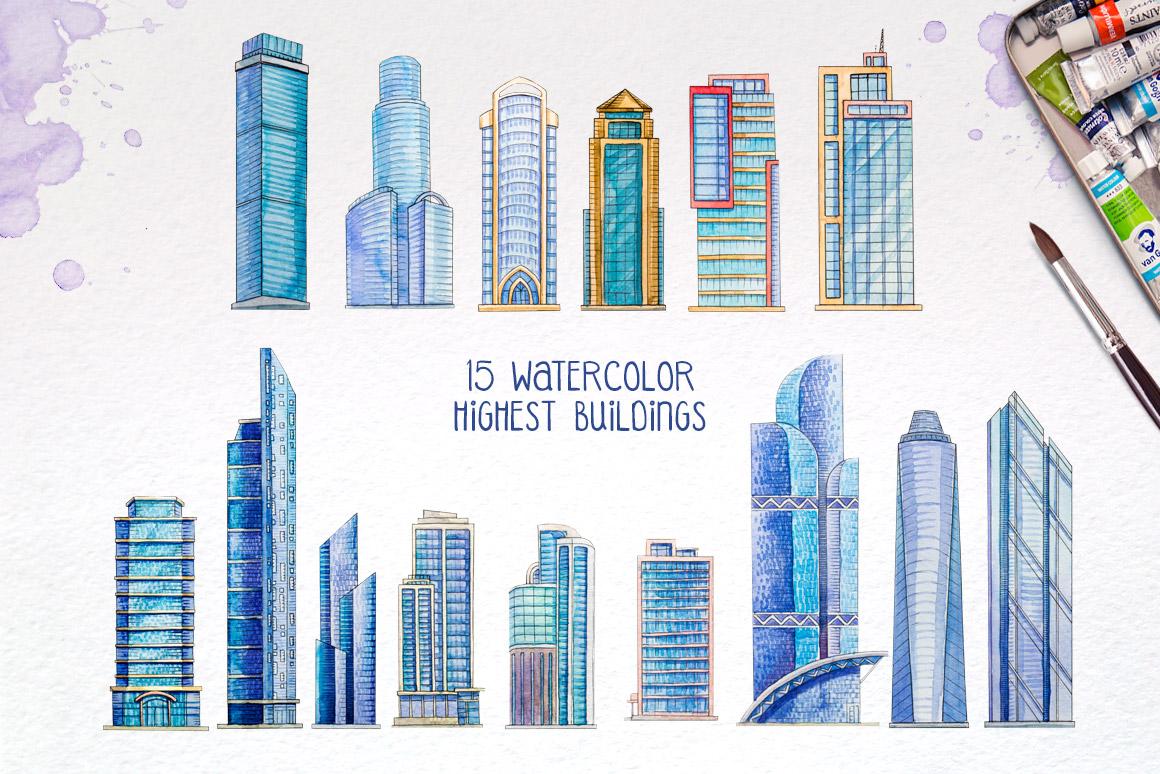 City Builder. Watercolor. example image 2