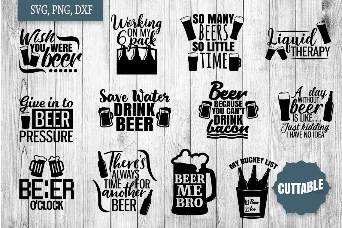 Beer Quotes SVG bundle, Beer lover cut files, Beer SVGs example image 1