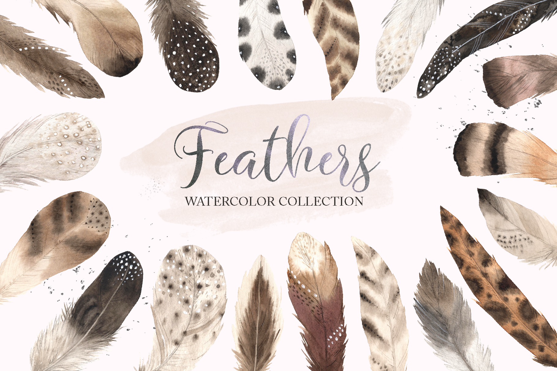 Watercolor Delicate Feathers Set example image 1