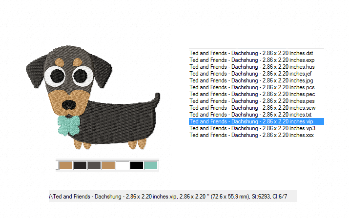 Dachshund Embroidery Designs in 2 sizes example image 3