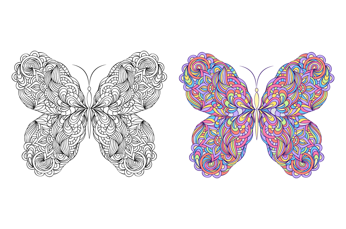 Floral butterflies. Coloring pages. example image 2