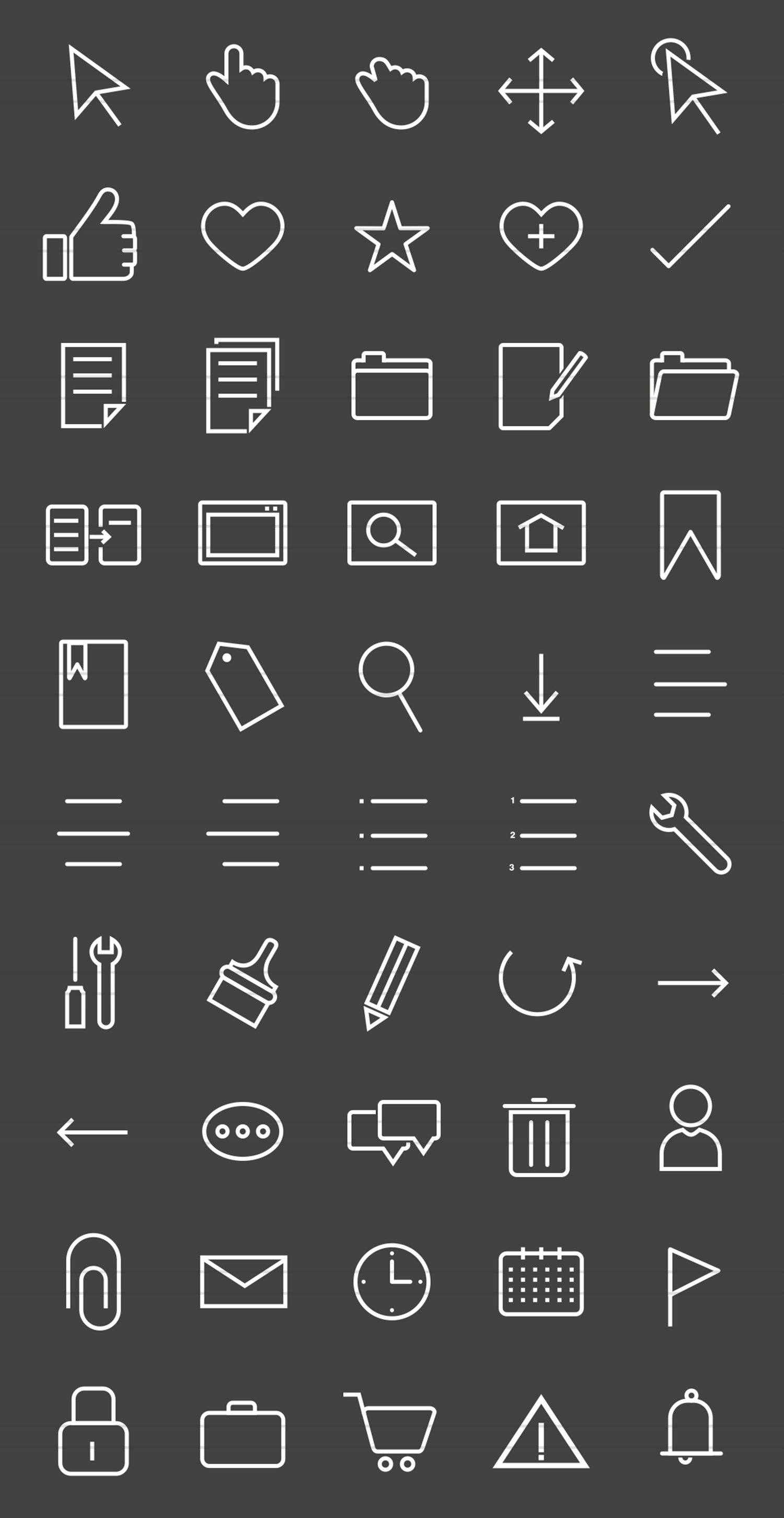 50 Interface Line Inverted Icons example image 2