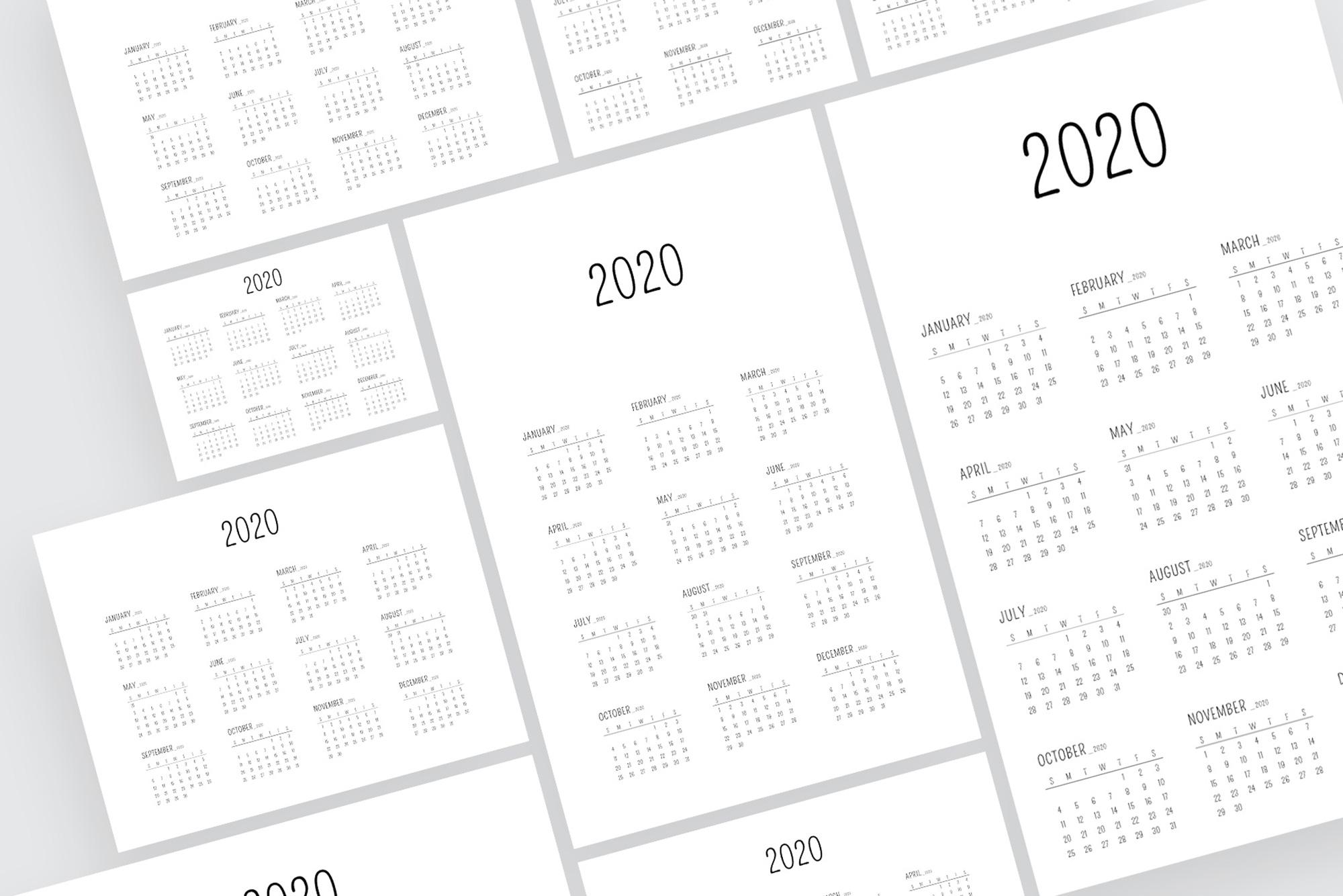 Minimal Calendar 2020 Template example image 3