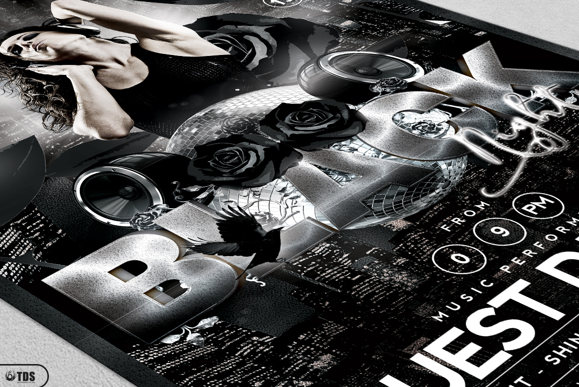 Black and White Party Flyer Bundle example image 9