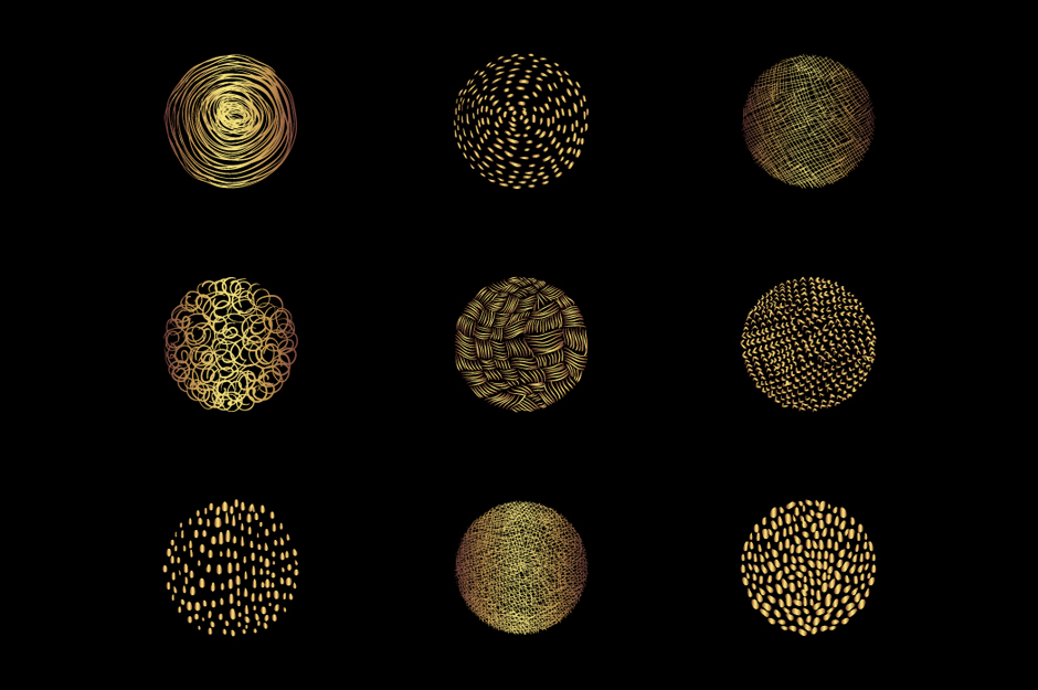 Abstract gold round textures clip art set example image 3