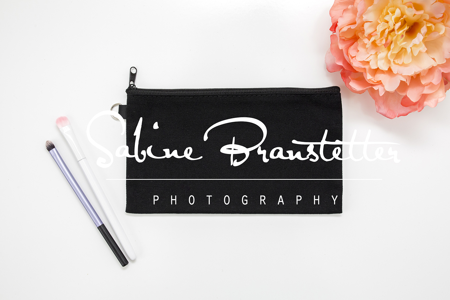 Styled Stock Photography Black Makeup Bag Mockup example image 1