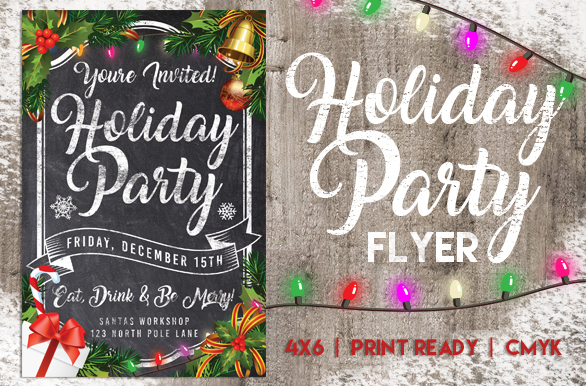 Chalk Christmas Holiday Party Flyer example image 1