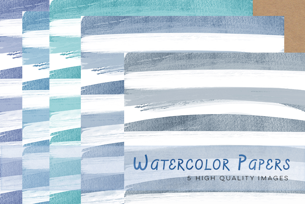 Blue Watercolour Papers, Purple digital paper watercolor pastel, wedding watercolor paper, invitation background, watercolour stripes paper example image 2