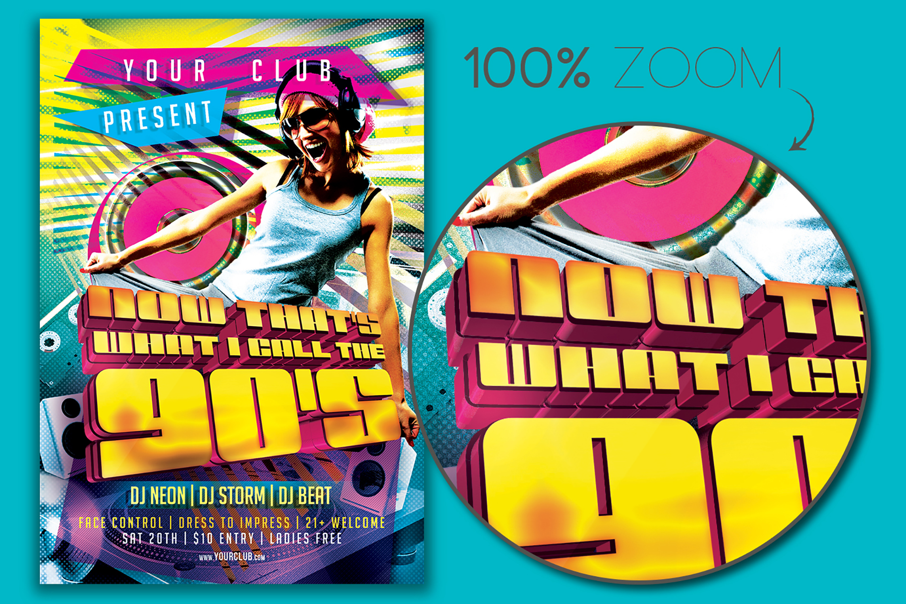 Now That's What I Call The 90's Flyer Template