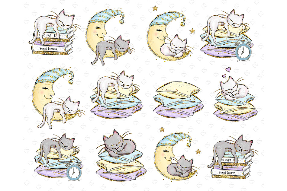 Kittens Clipart, Cute Cats Illustrations, Printable Graphics example image 3