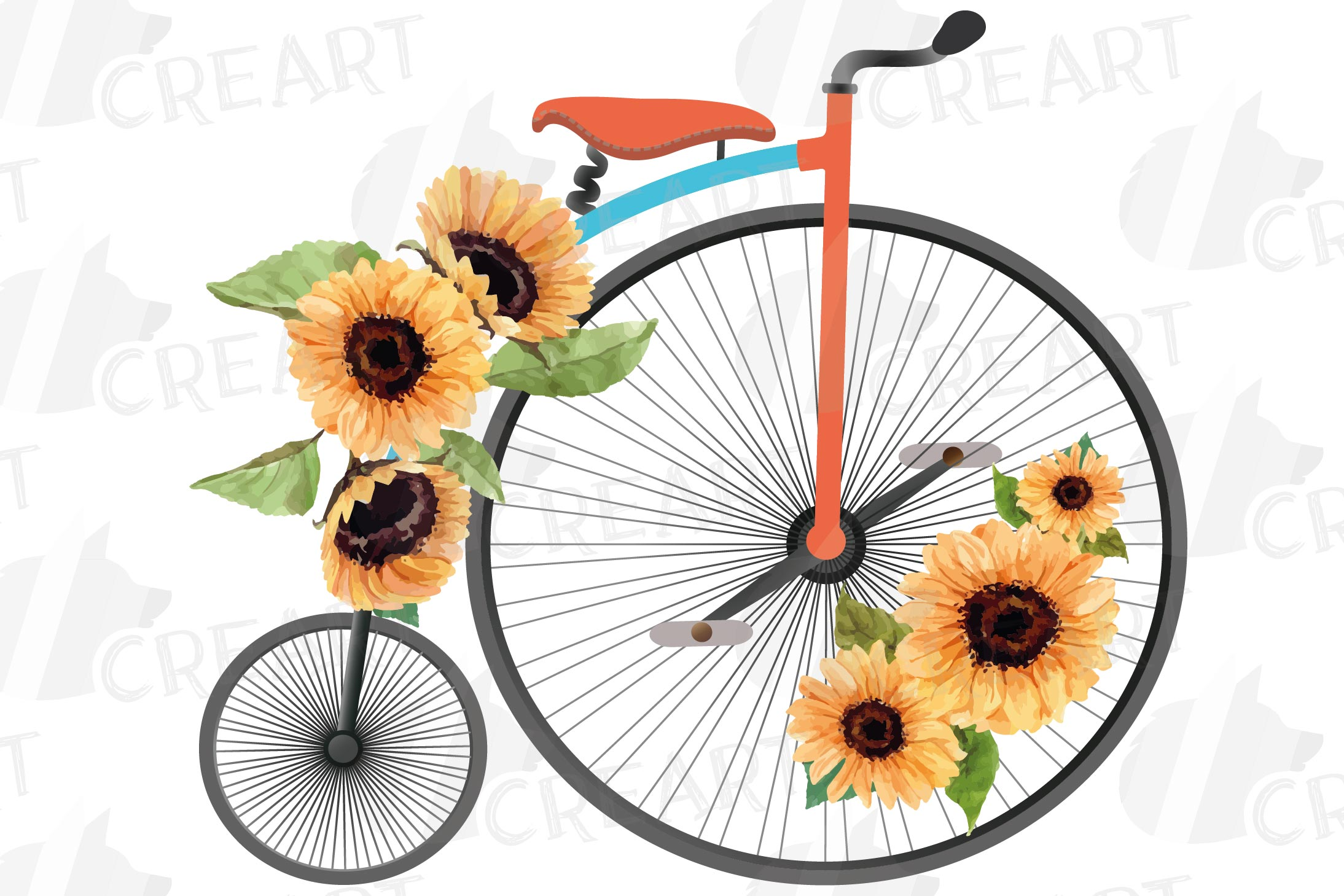 Sunflower bouquets high wheelers clip art. Floral bicycles example image 7
