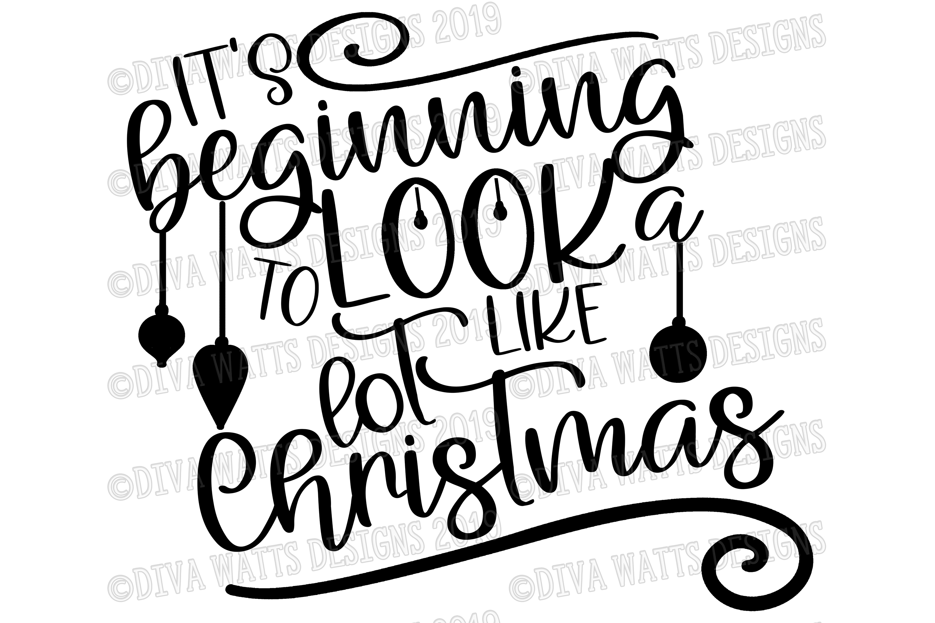 It's Beginning to Look A Lot Like Christmas Cutting File example image 2