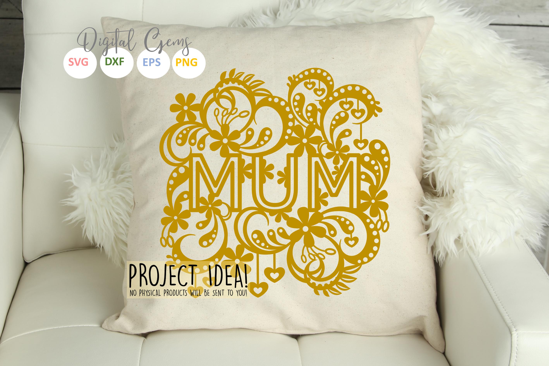 Mum paper cut design SVG / DXF / EPS files example image 4
