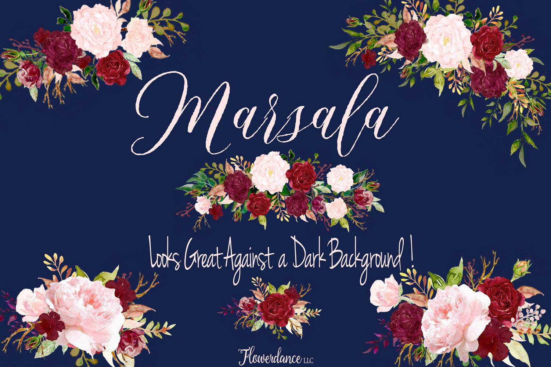 Watercolor Marsala and Blush Bundle for Weddings example image 8