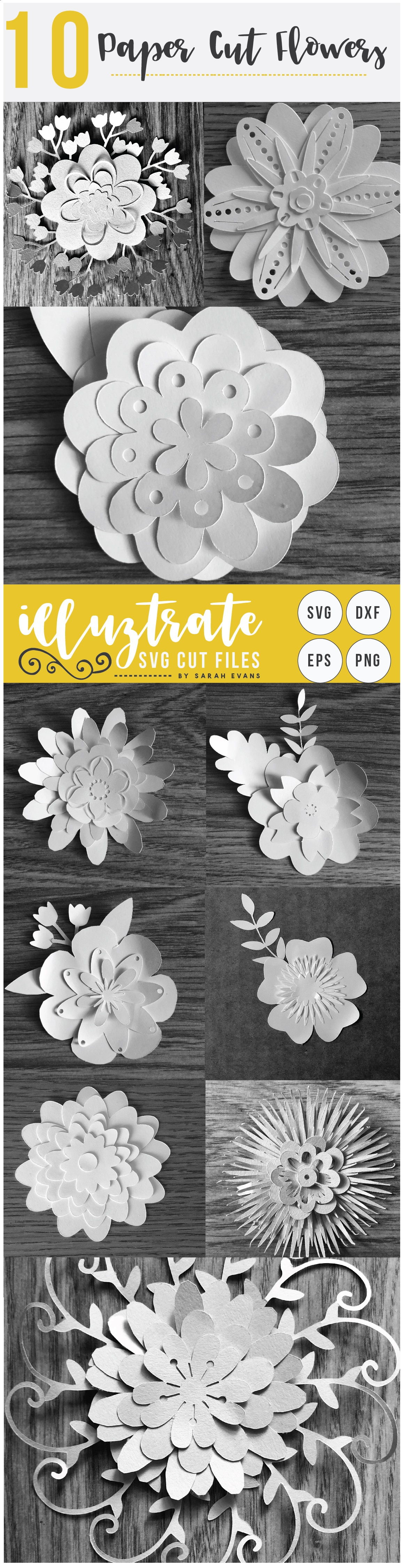 Paper Flower Template Bundle | Paper Cutting Bundle SVG example image 2