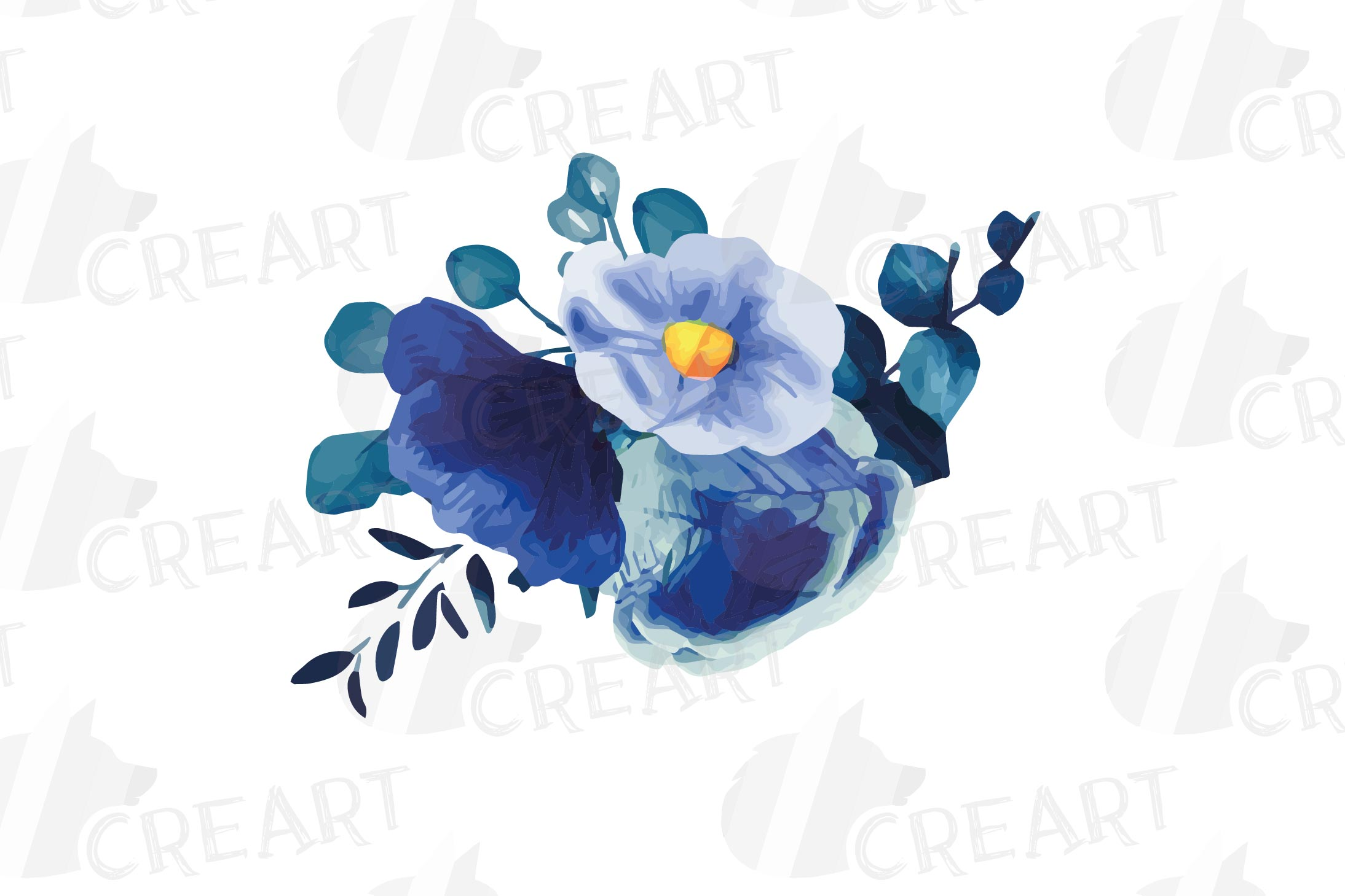 Navy blue and blush pink floral watercolor bouquets clip art example image 3