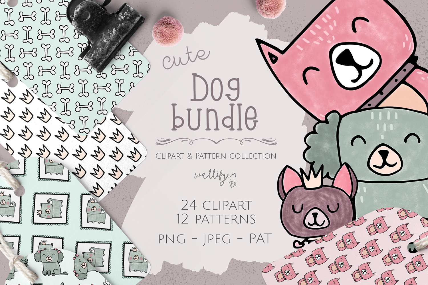 Dog clipart and patterns collection example image 1
