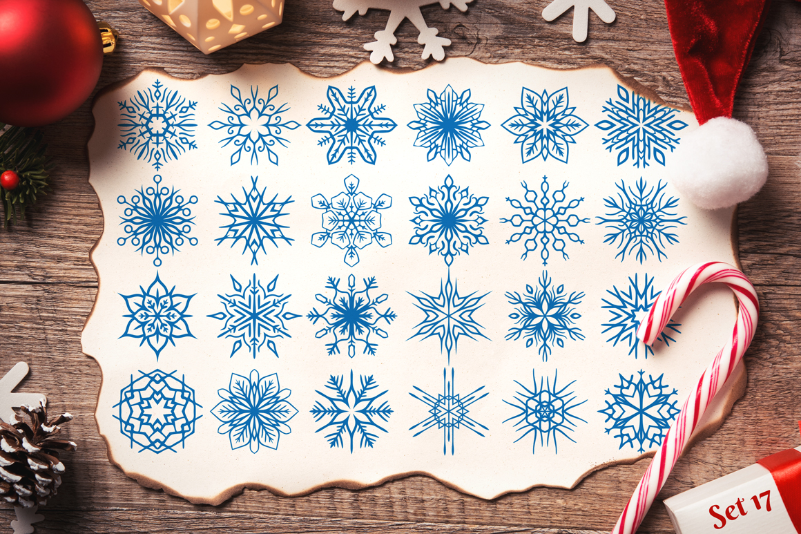 500 Snowflake Vector Ornaments example image 24