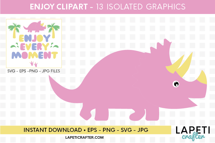 Enjoy every moment printable quote, pink dinosaur printable example image 5