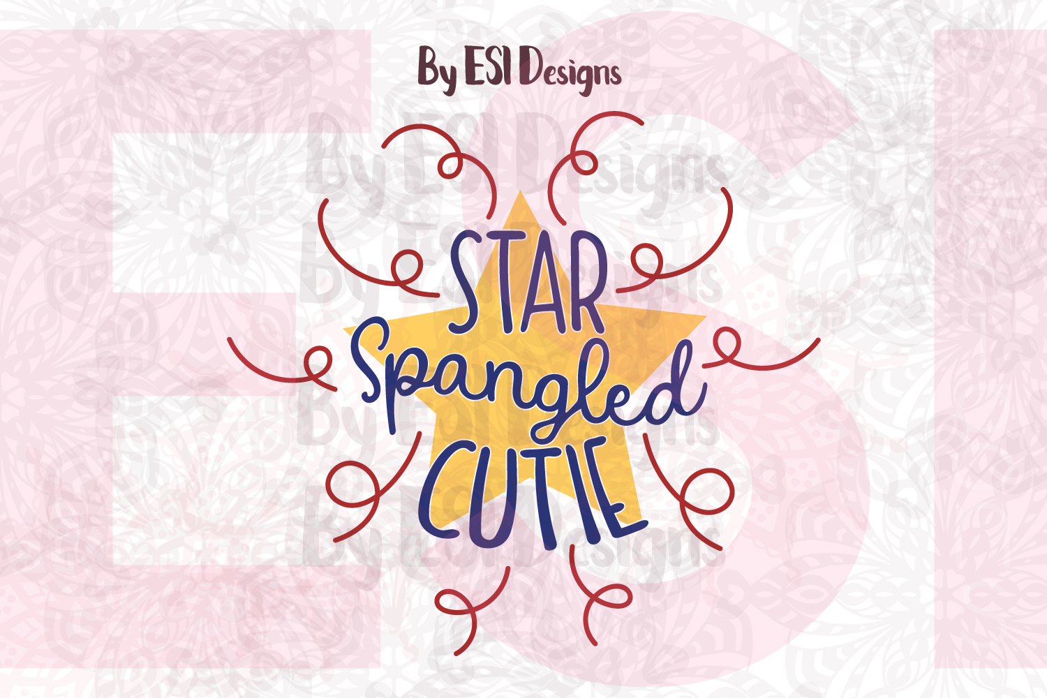 Star Spangled Cutie - Printable and Cutting Files example image 1