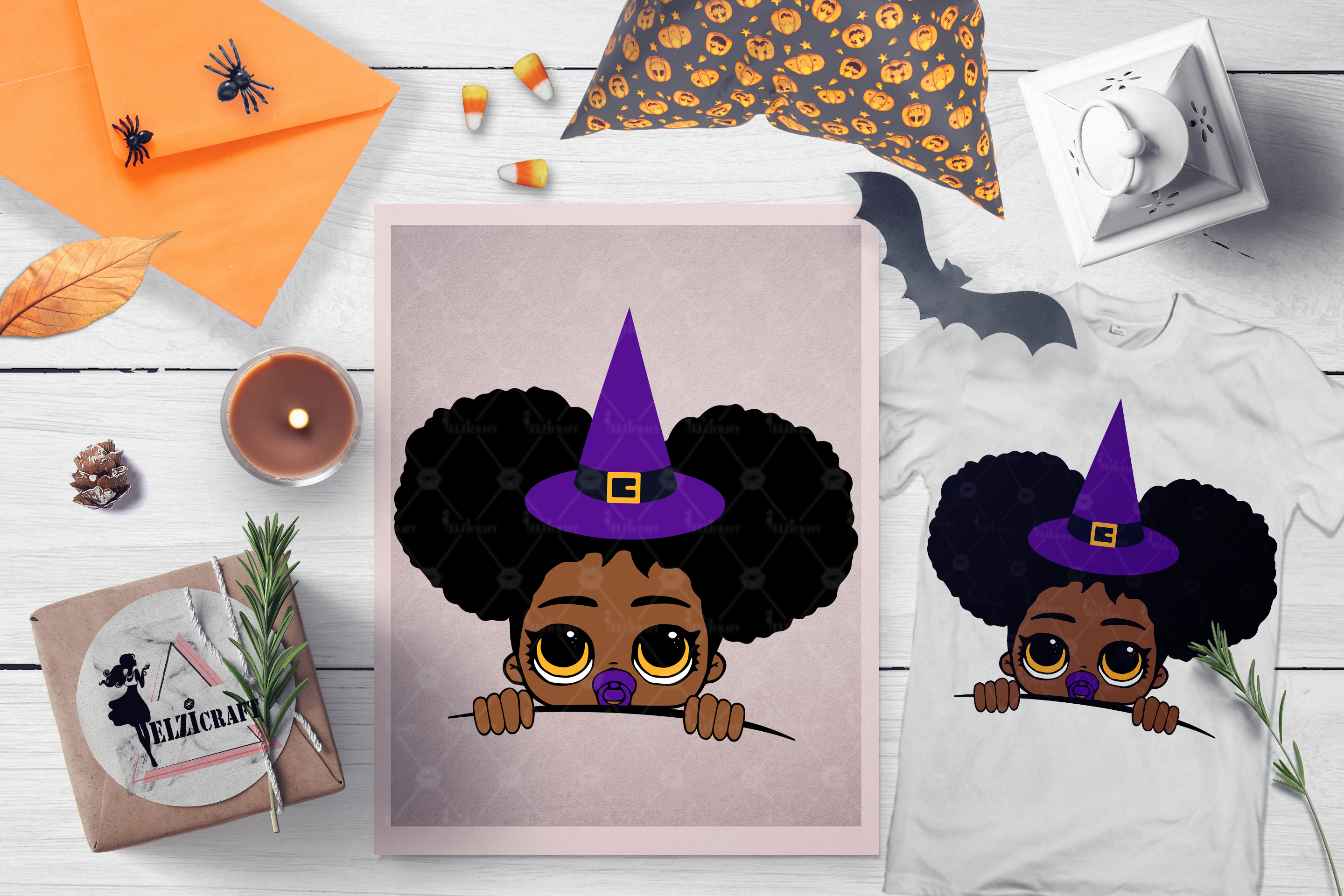 Halloween Peeking Witch Afro Baby Girl SVG Cut File example image 1