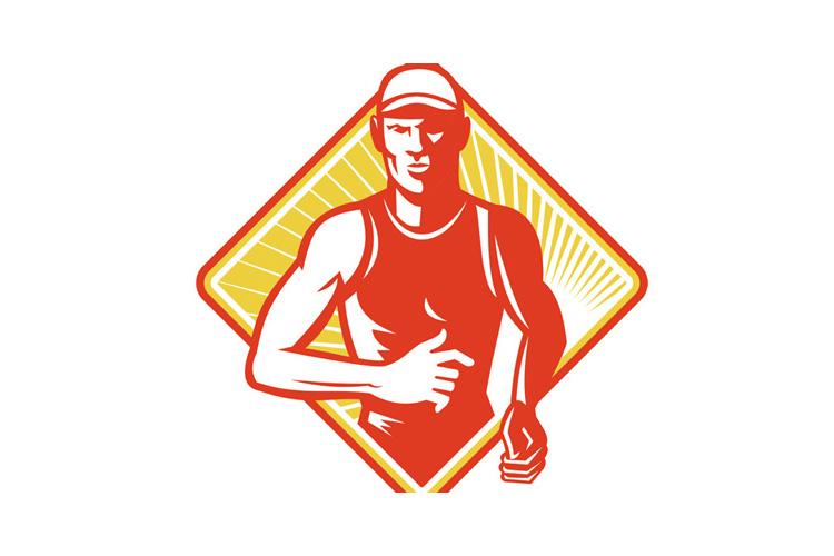 Male Marathon Runner Running Retro Woodcut example image 1