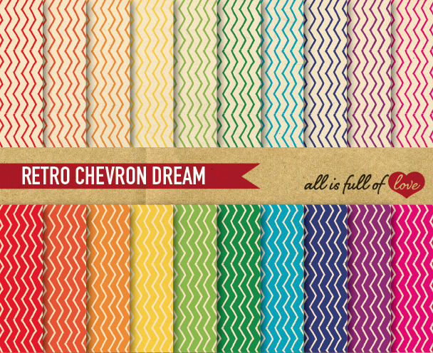 Chevron Digital Paper in Rainbow Colors with Vintage Background Paper Zig Zag Patterns example image 1