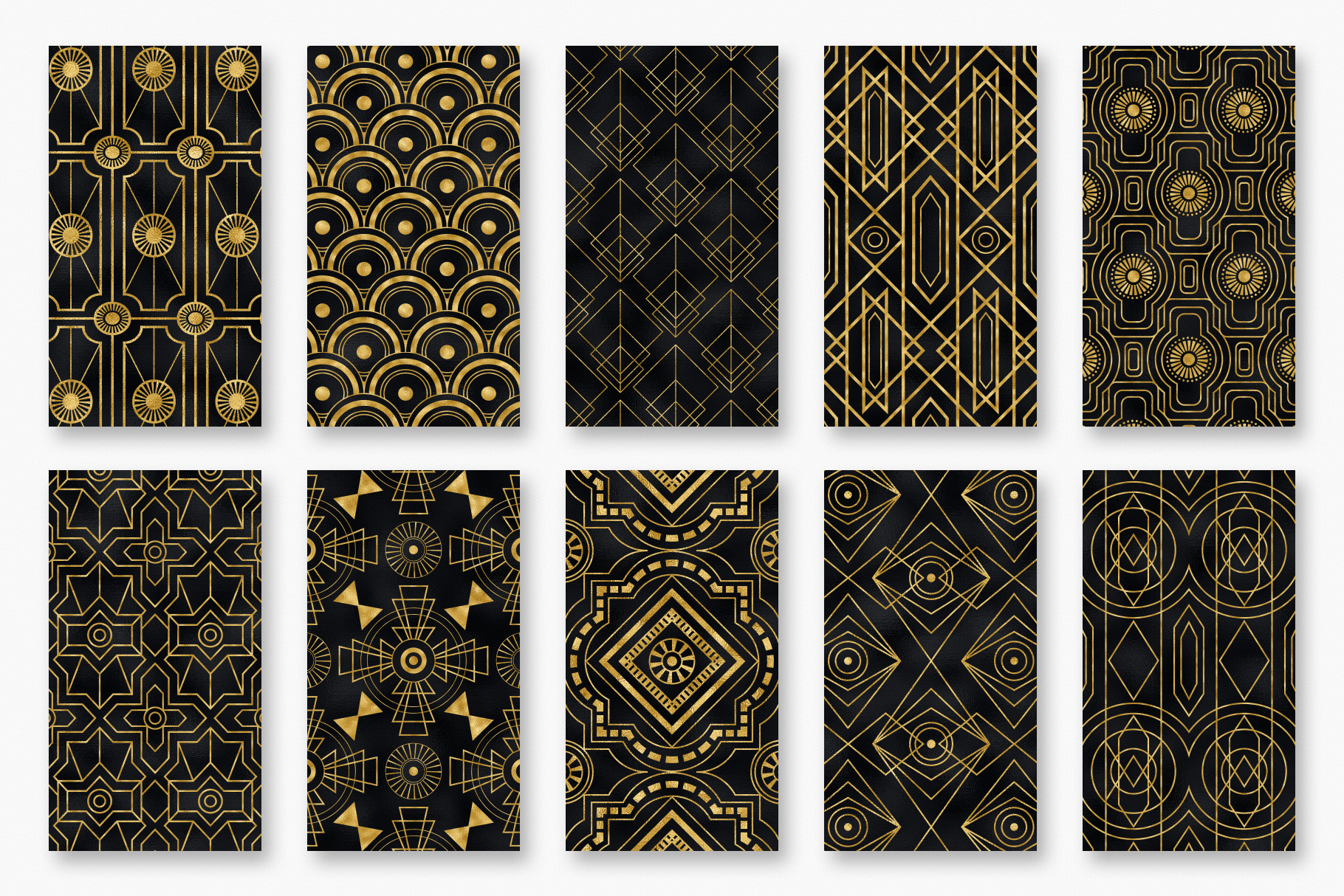 Seamless Art Deco Patterns - Black and Gold Digital Papers example image 15