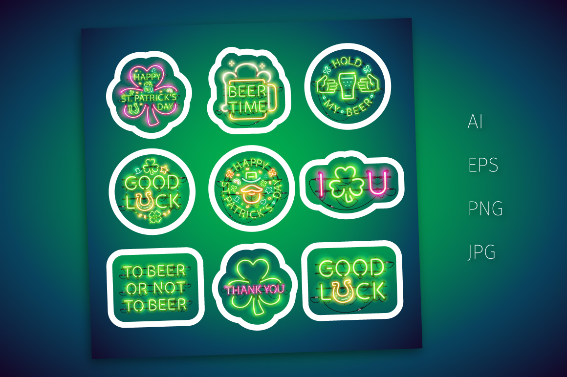 Neon St Patricks Day Sticker Pack example image 3