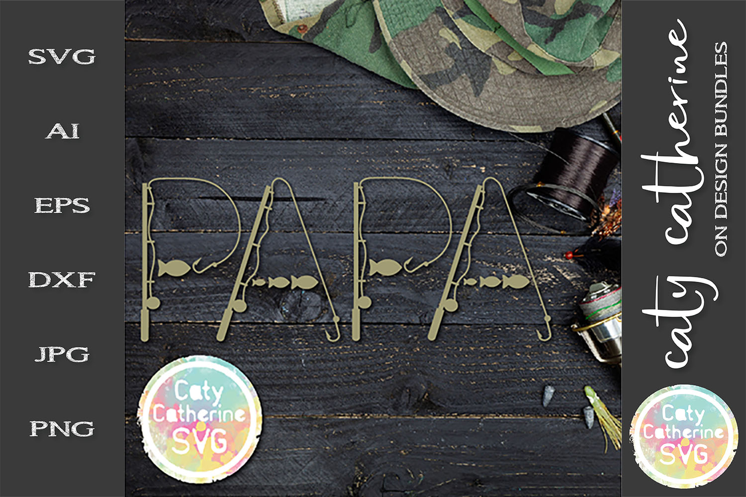 PaPa Father's Day Fishing Lure Word Art SVG Cut File example image 1