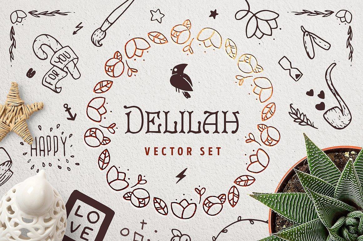 Delilah – Hand Drawn Vector Set example image 1
