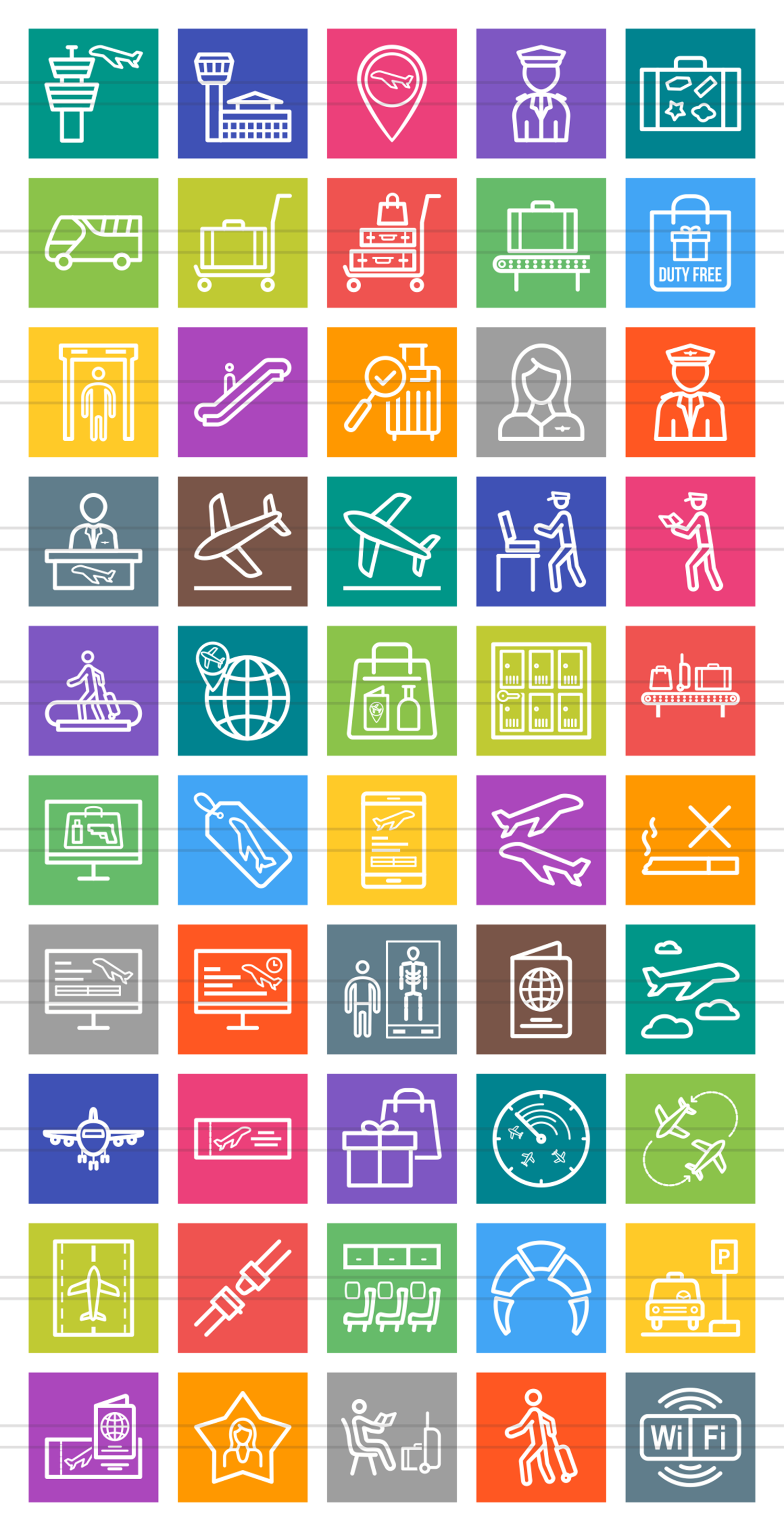 50 Airport Line Multicolor B/G Icons example image 2