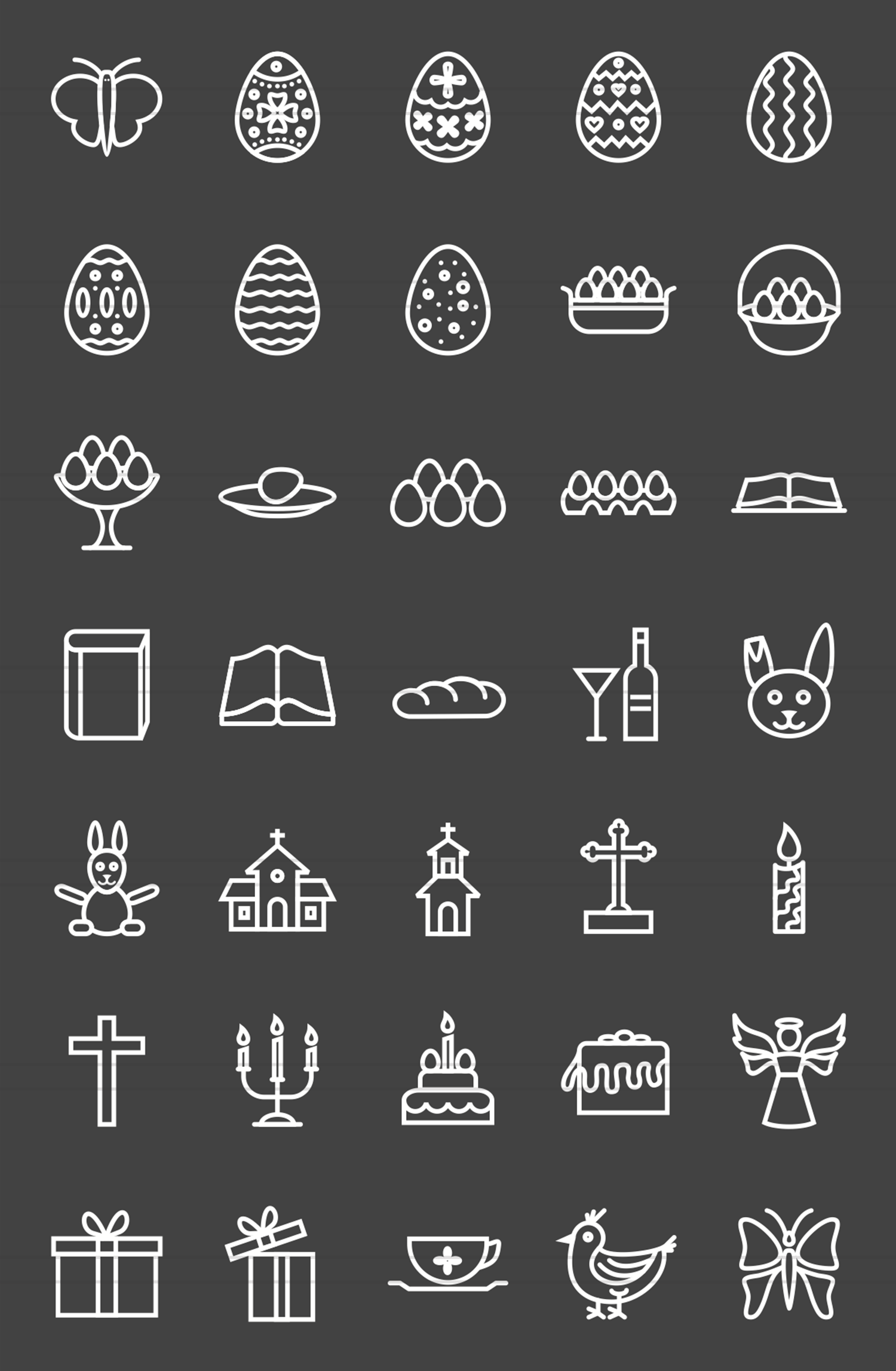35 Easter Line Inverted Icons example image 2