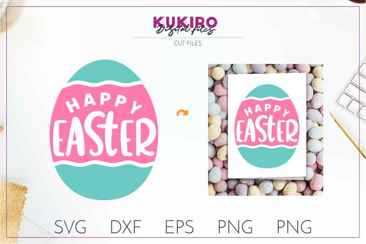 HAPPY EASTER cut file SVG DXF EPS PNG JPG example image 1
