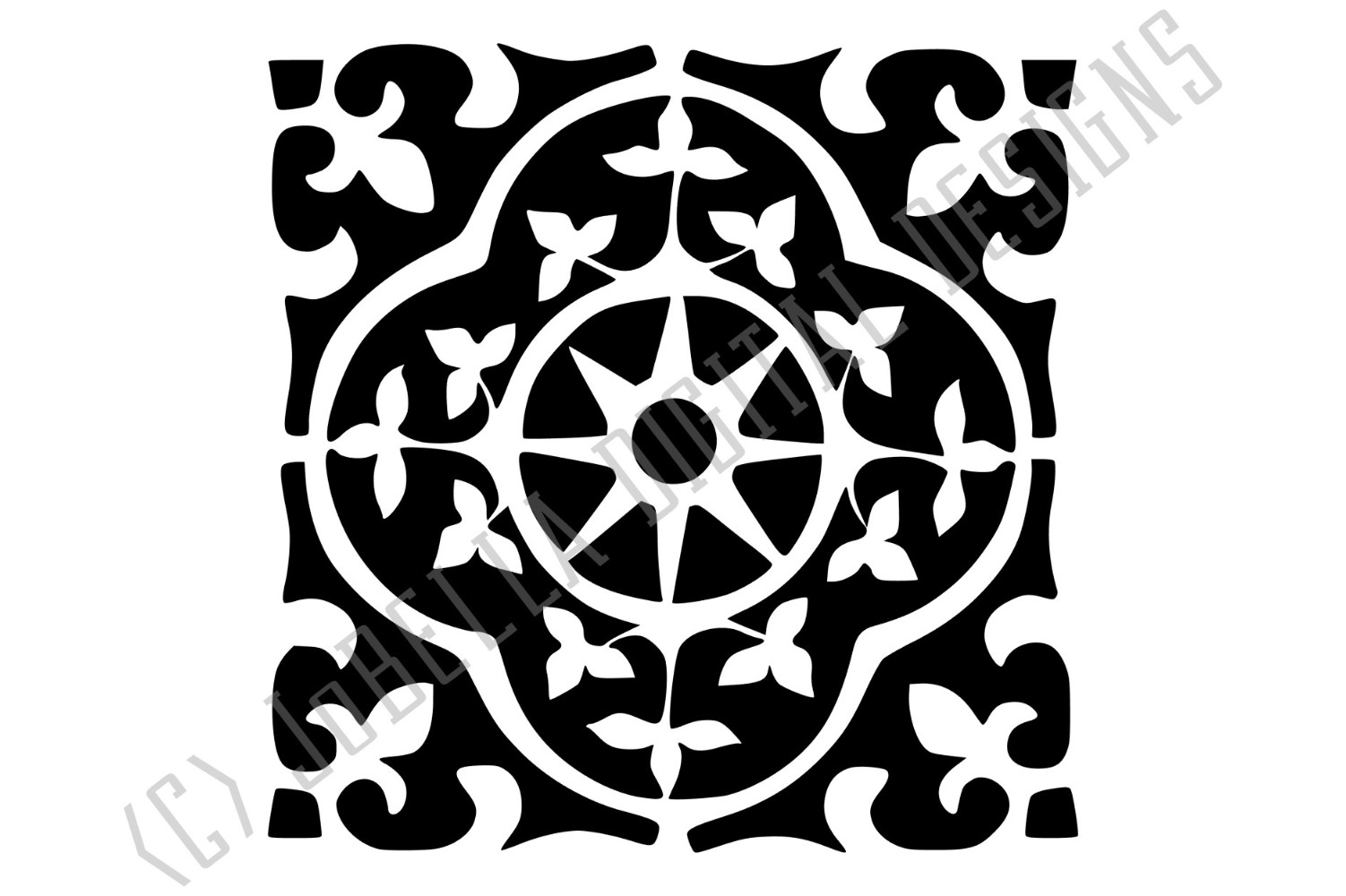 Spanish Tile 3 SVG, Stencil Template and Printable example image 2