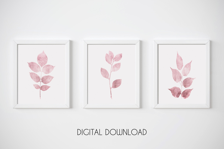 Pink Botanical Print, Pink Leaf Prints, Set of 3 Wall Art example image 1