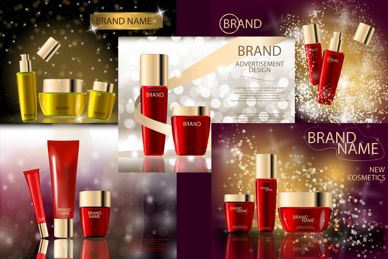 Glamorous Beauty Care Products Packages, Mock-ups, 3D Realistic Vector template example image 1