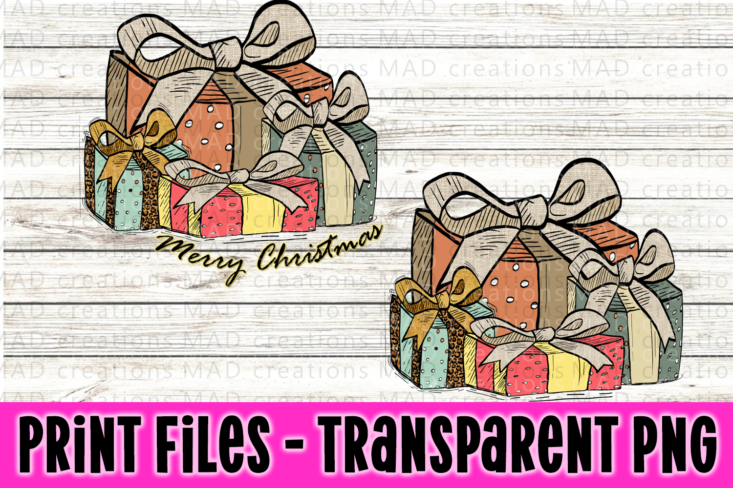 Christmas Present - Rustic Stacked Presents - Print File example image 1
