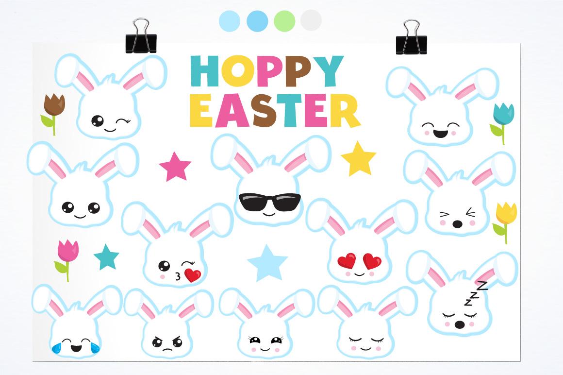 Easter Kawaii Bunnies graphics and illustrations example image 2