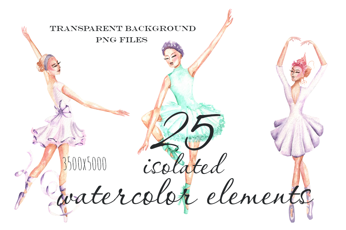 Ballet watercolor clip art example image 3