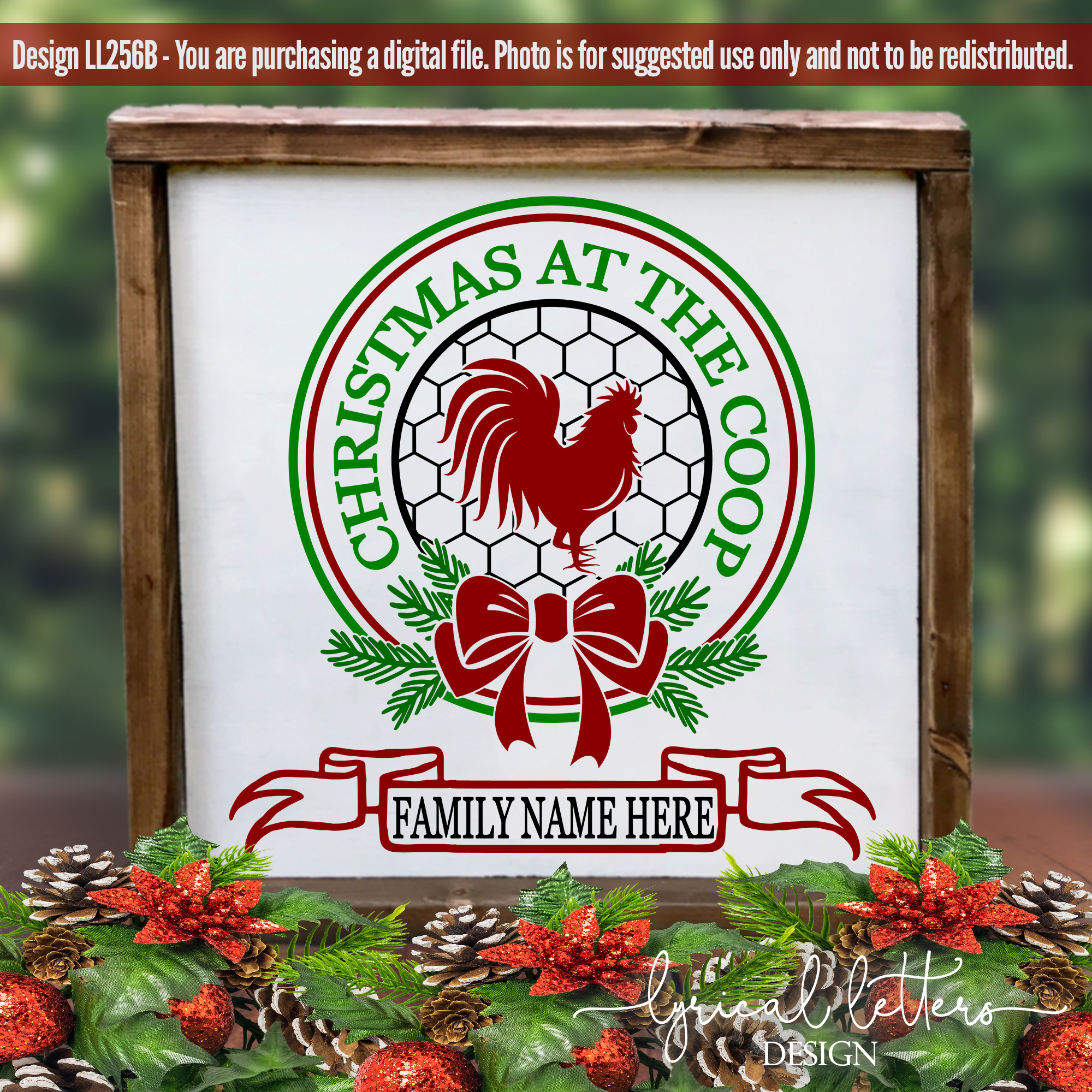 Farmhouse Christmas at the Coop SVG DXF LL256B example image 2