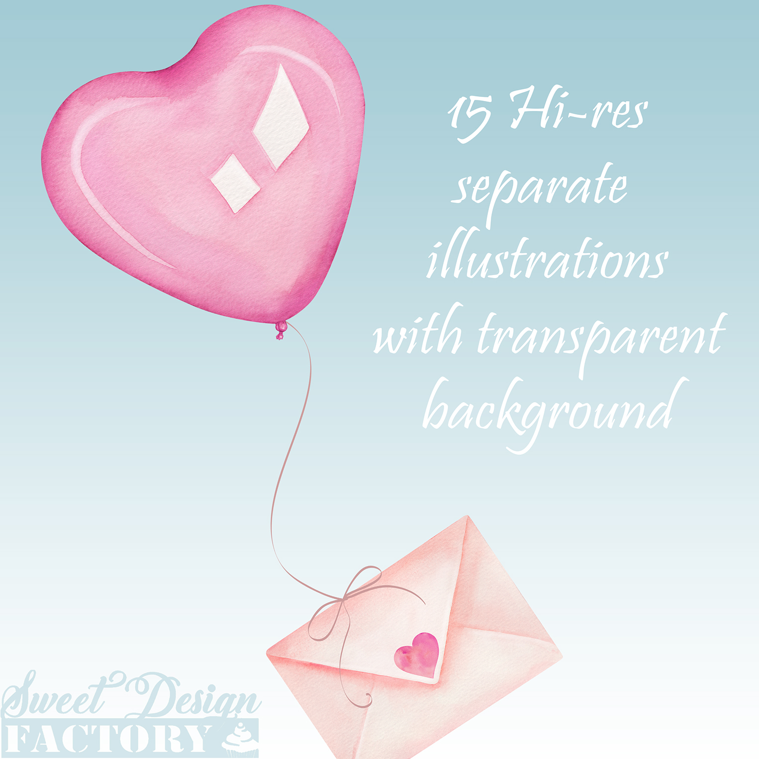 Valentine's day watercolor clipart example image 6