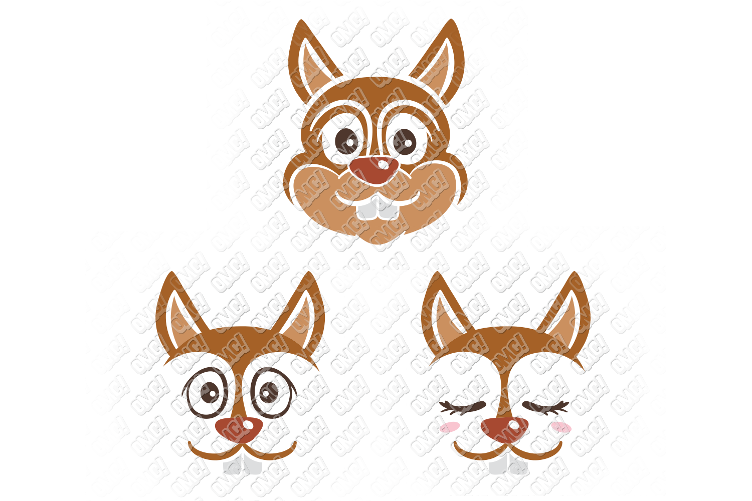 Squirrel SVG Monogram Face in SVG, DXF, PNG, EPS, JPG example image 3