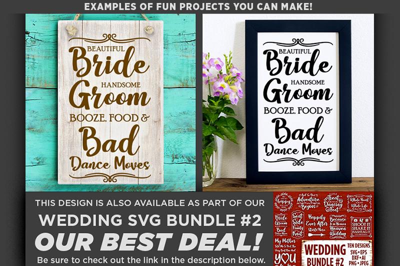 Beautiful Bride Handsome Groom Booze Wedding SVG File - 5518 example image 1