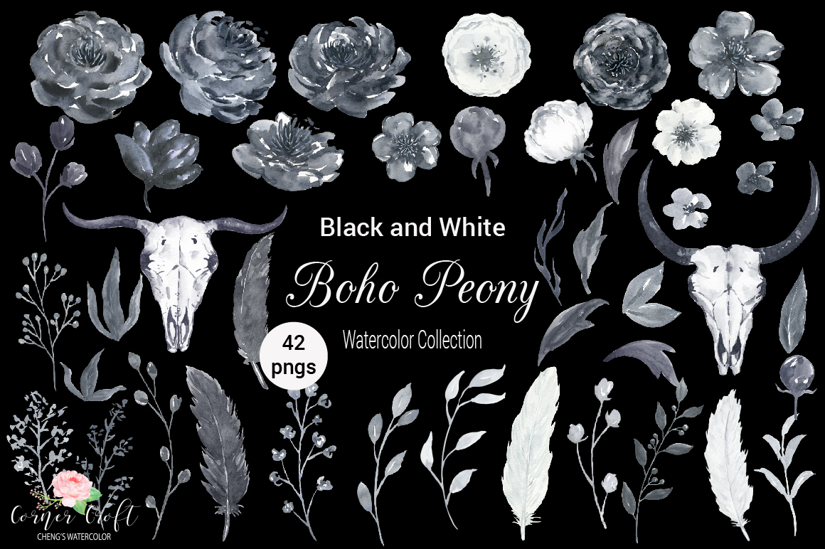 Watercolor Black and White Boho Peony example image 2