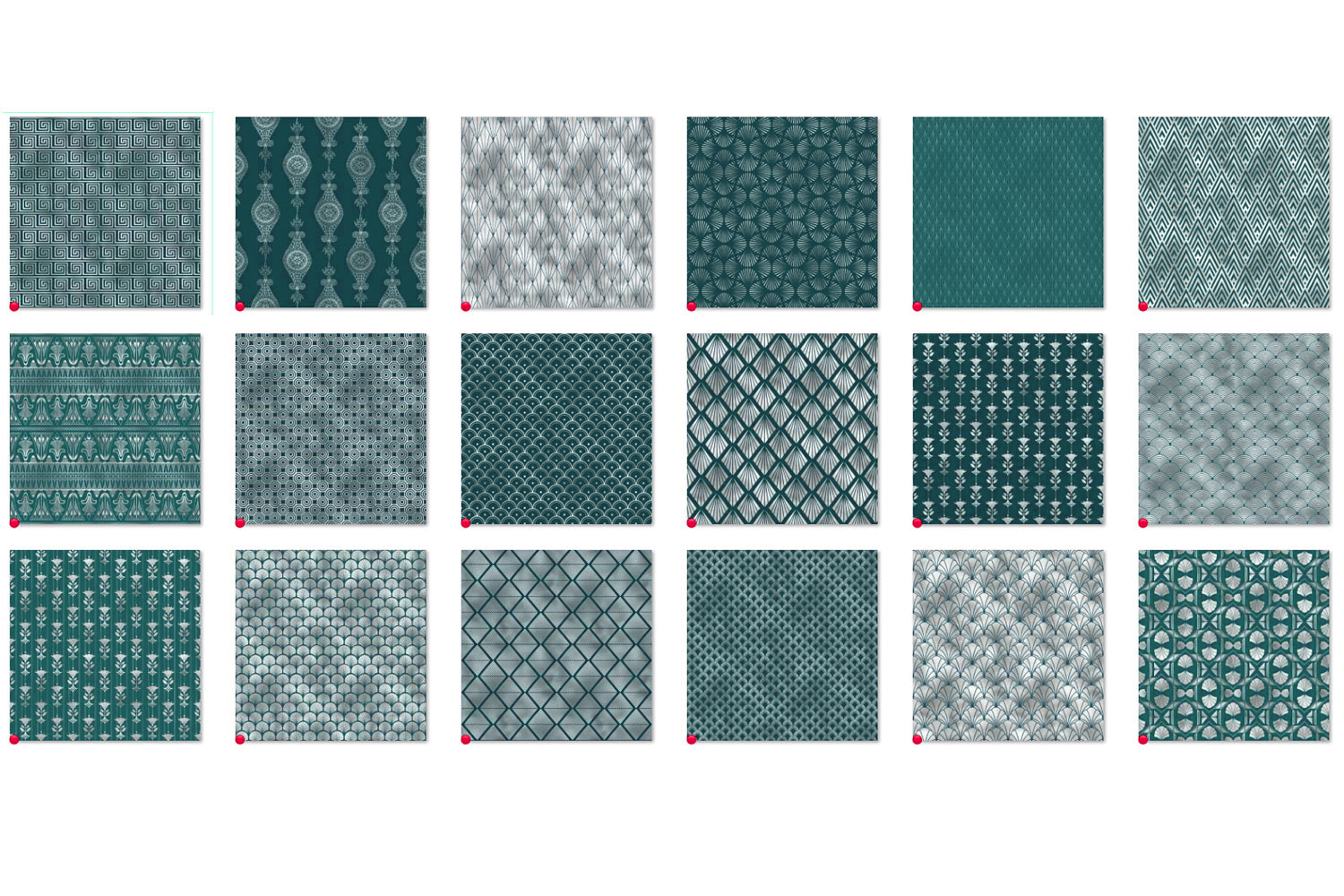 Teal and Silver Art Deco Digital Paper example image 4
