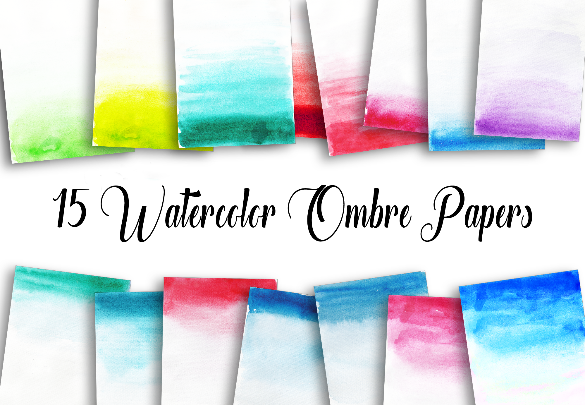 15 Watercolor Ombre Papers example image 1