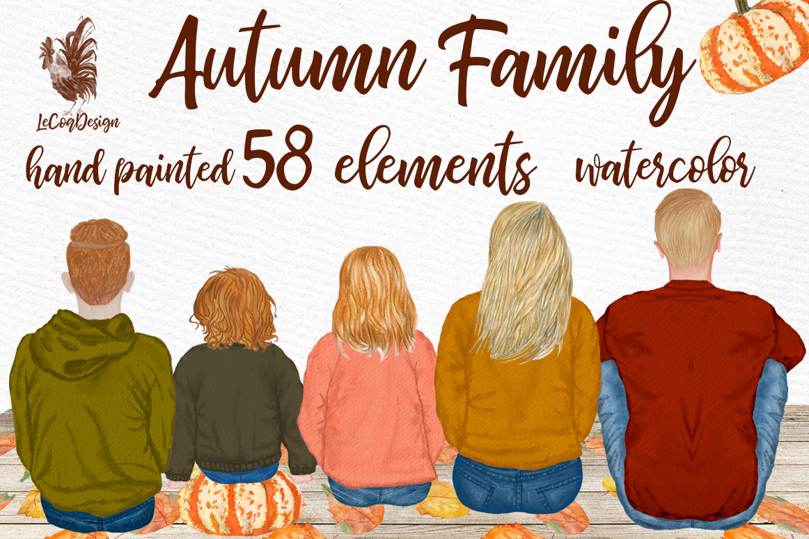 Autumn clipart, Family Clipart, Family Illustrations example image 1