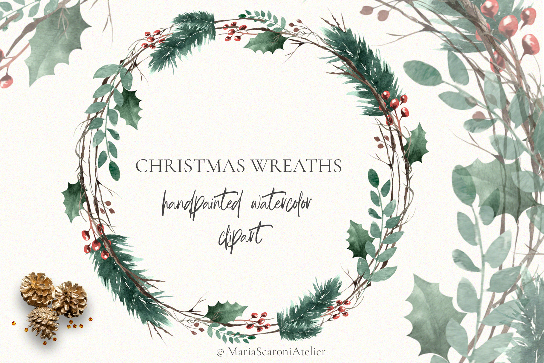 Christmas Watercolor Wreaths example image 1